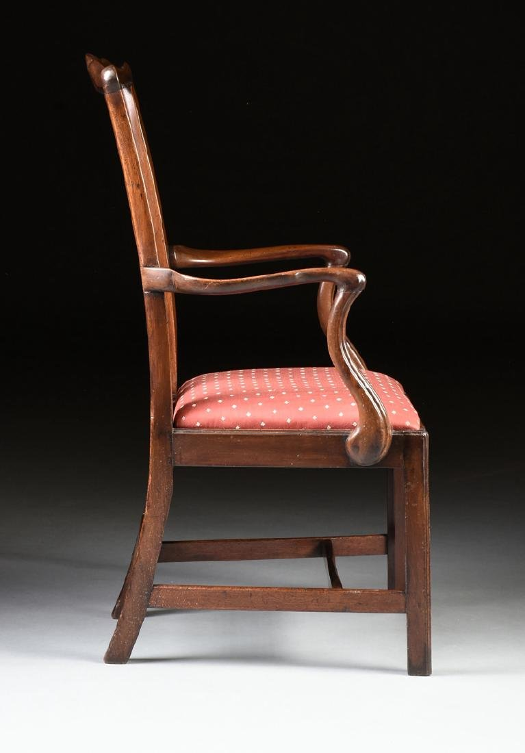 A COLONIAL MAHOGANY CHIPPENDALE ARM CHAIR, PROBABLY - 5