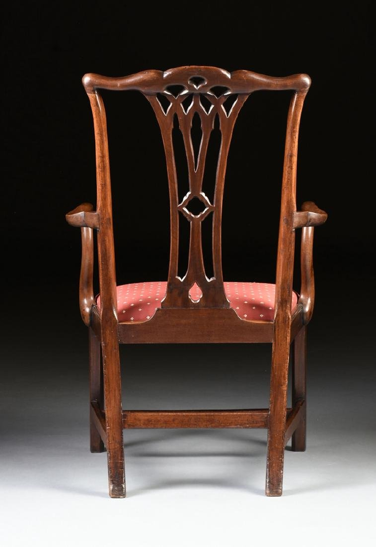 A COLONIAL MAHOGANY CHIPPENDALE ARM CHAIR, PROBABLY - 6