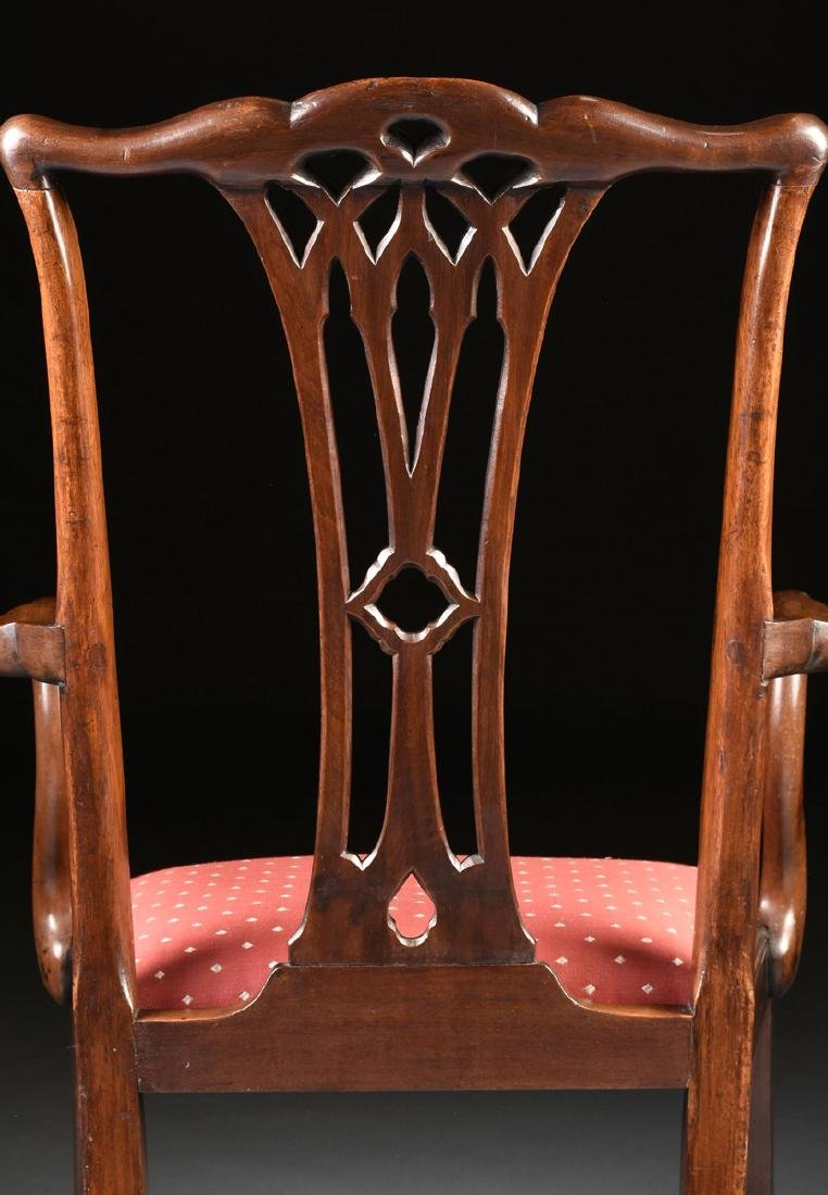 A COLONIAL MAHOGANY CHIPPENDALE ARM CHAIR, PROBABLY - 7