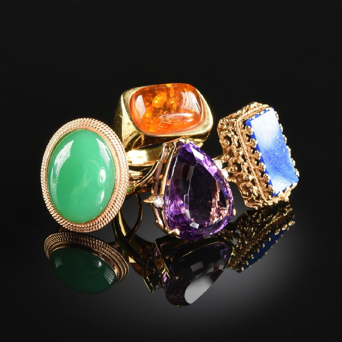 A LOT OF FOUR 14K LADY'S RINGS,