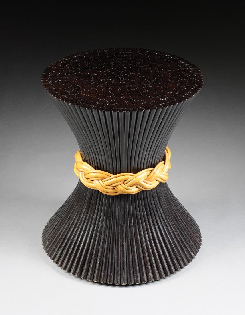 A MCGUIRE GLASS TOPPED AND BLACK PAINTED BOUND REEDS - 3