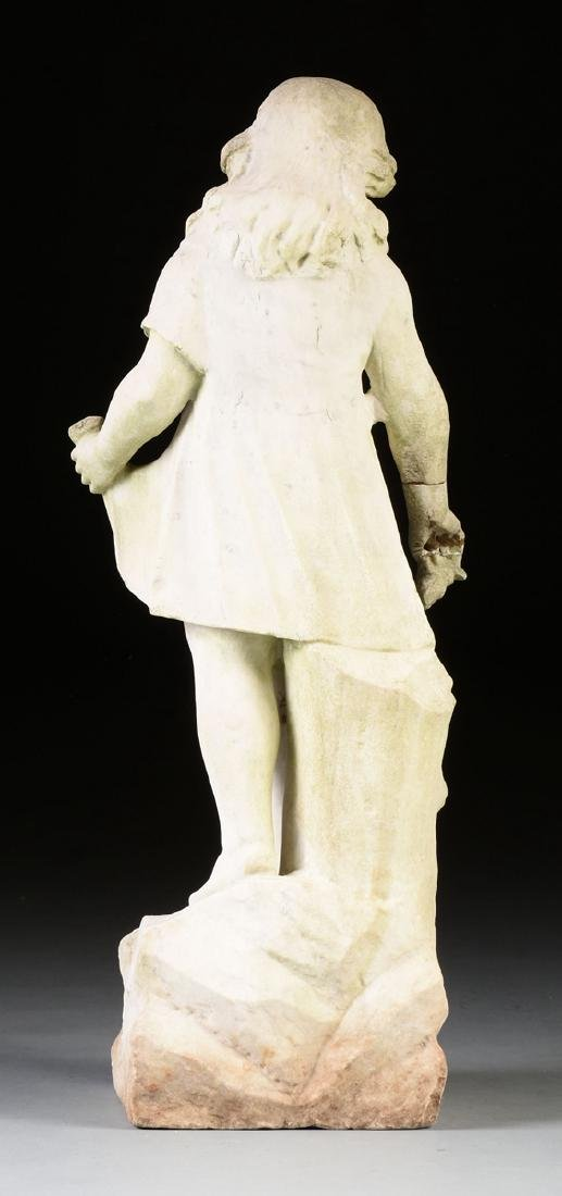 A WHITE MARBLE STATUE MODELED AS A GIRL GATHERING - 8