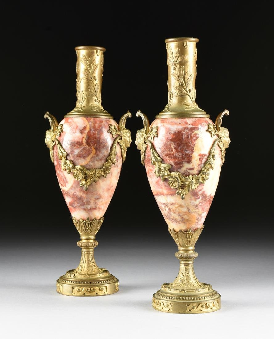 A PAIR OF LOUIS XVI STYLE GILT BRONZE MOUNTED ROUGE