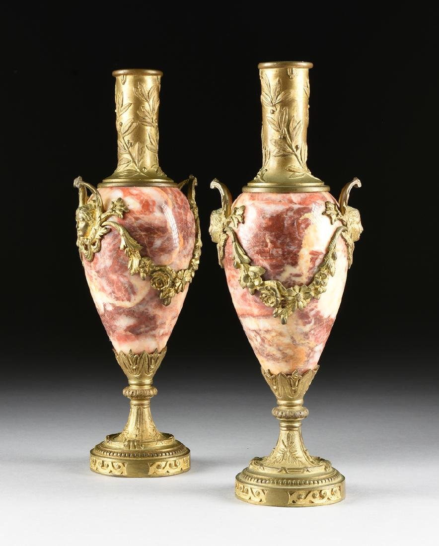A PAIR OF LOUIS XVI STYLE GILT BRONZE MOUNTED ROUGE - 2
