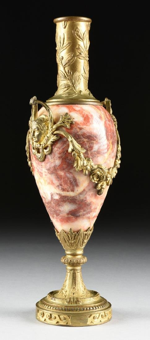 A PAIR OF LOUIS XVI STYLE GILT BRONZE MOUNTED ROUGE - 7