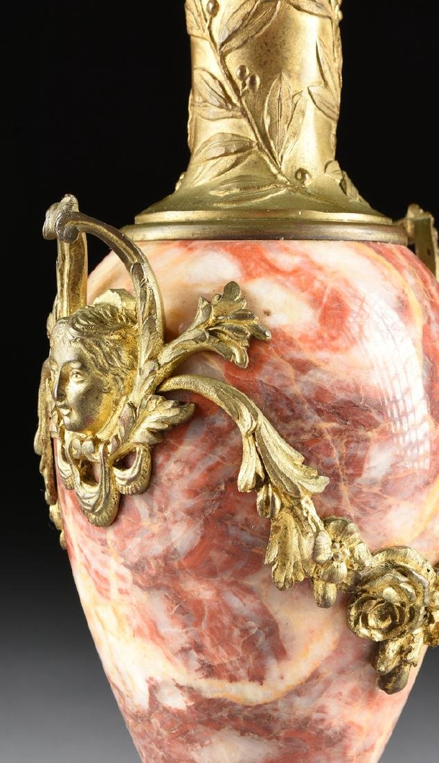A PAIR OF LOUIS XVI STYLE GILT BRONZE MOUNTED ROUGE - 9