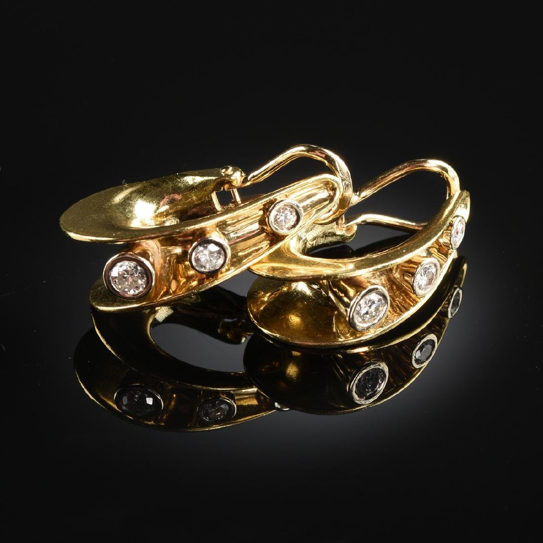 A GROUP OF FOUR PAIRS OF 18K YELLOW GOLD AND 14K YELLOW - 5