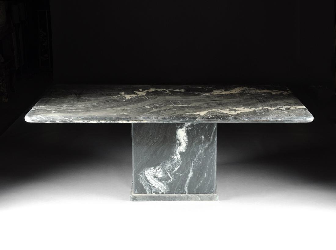 A CONTEMPORARY GRAY MARBLE DINING TABLE, POSSIBLY