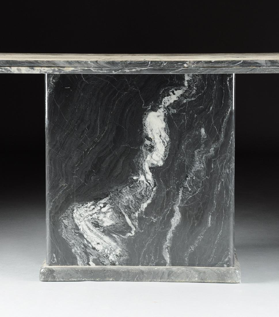 A CONTEMPORARY GRAY MARBLE DINING TABLE, POSSIBLY - 2