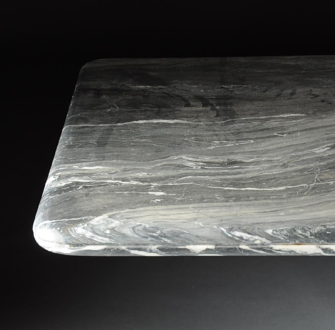 A CONTEMPORARY GRAY MARBLE DINING TABLE, POSSIBLY - 3