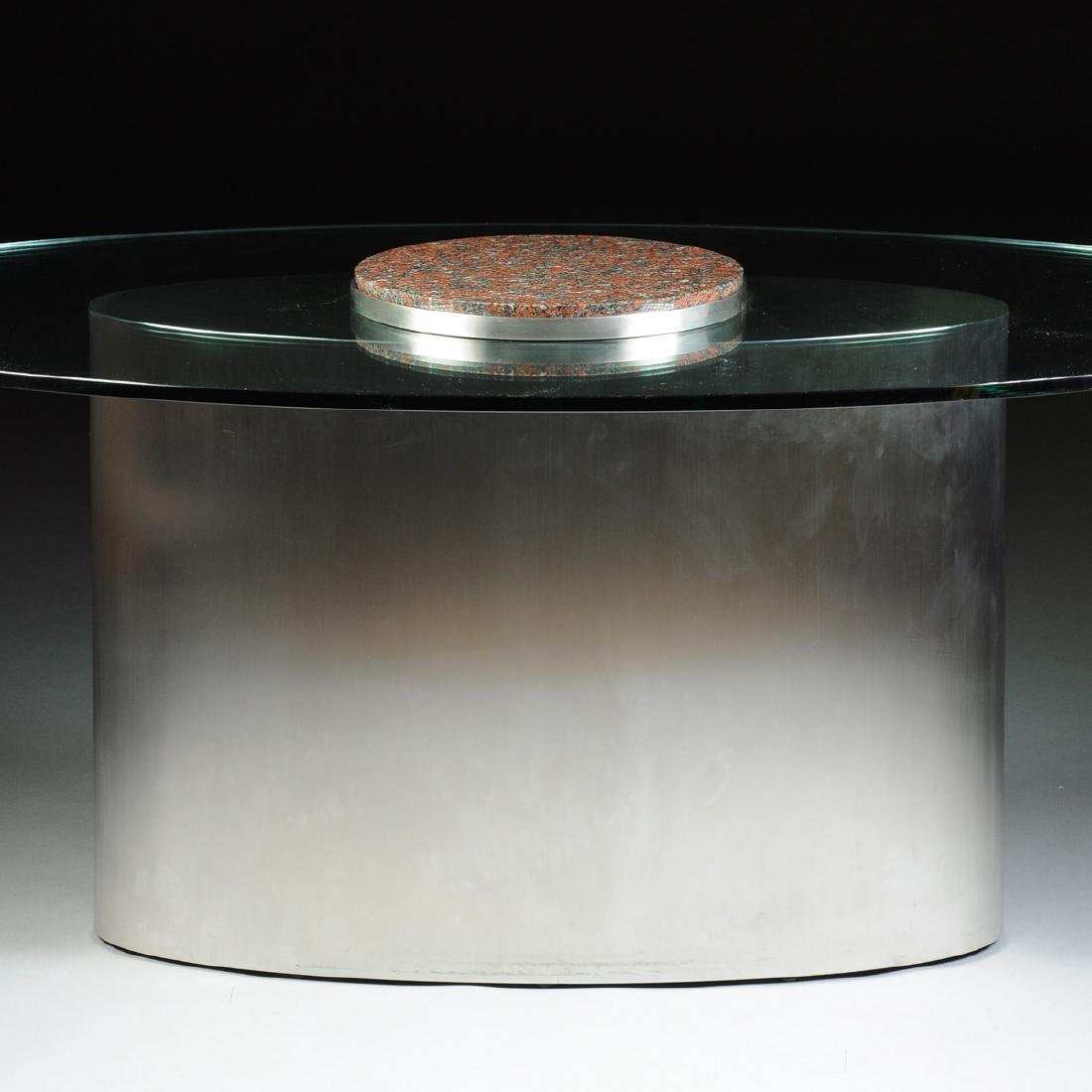 A CONTEMPORARY GLASS TOPPED STAINLESS STEEL AND GRANITE - 2