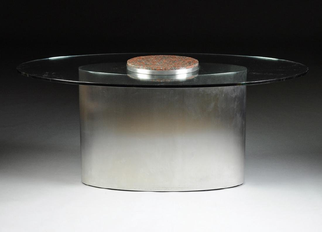 A CONTEMPORARY GLASS TOPPED STAINLESS STEEL AND GRANITE - 3