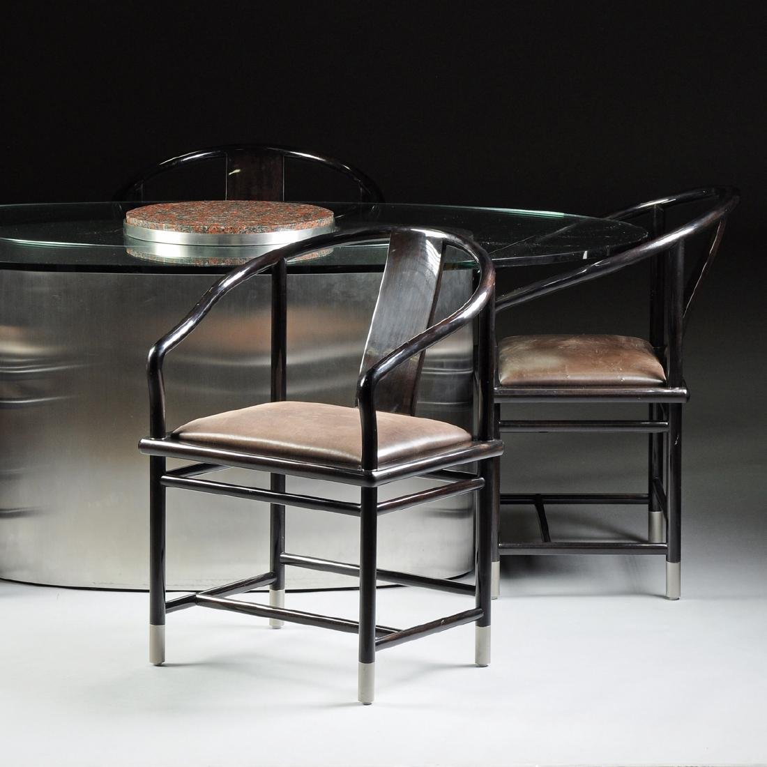 A CONTEMPORARY GLASS TOPPED STAINLESS STEEL AND GRANITE - 4