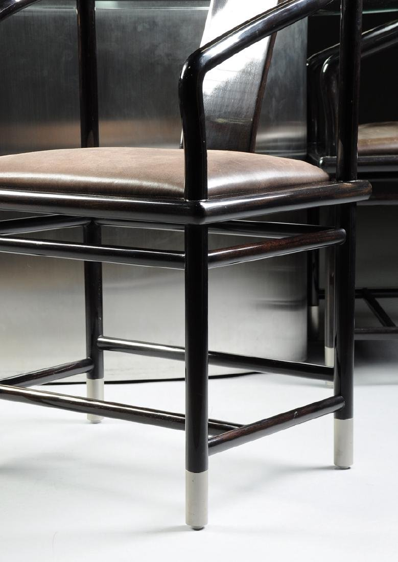 A CONTEMPORARY GLASS TOPPED STAINLESS STEEL AND GRANITE - 6