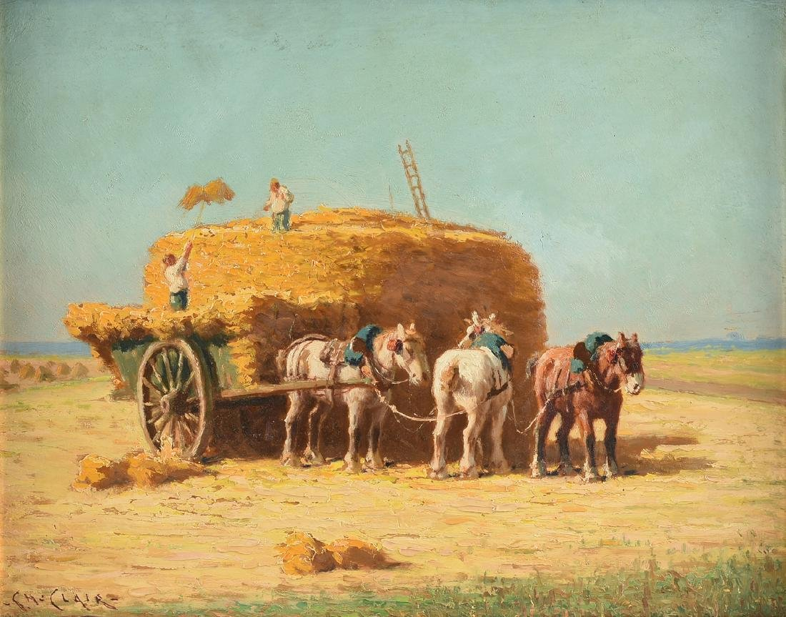 """CHARLES CLAIR (French 1860-1930) A PAINTING, """"Loading"""