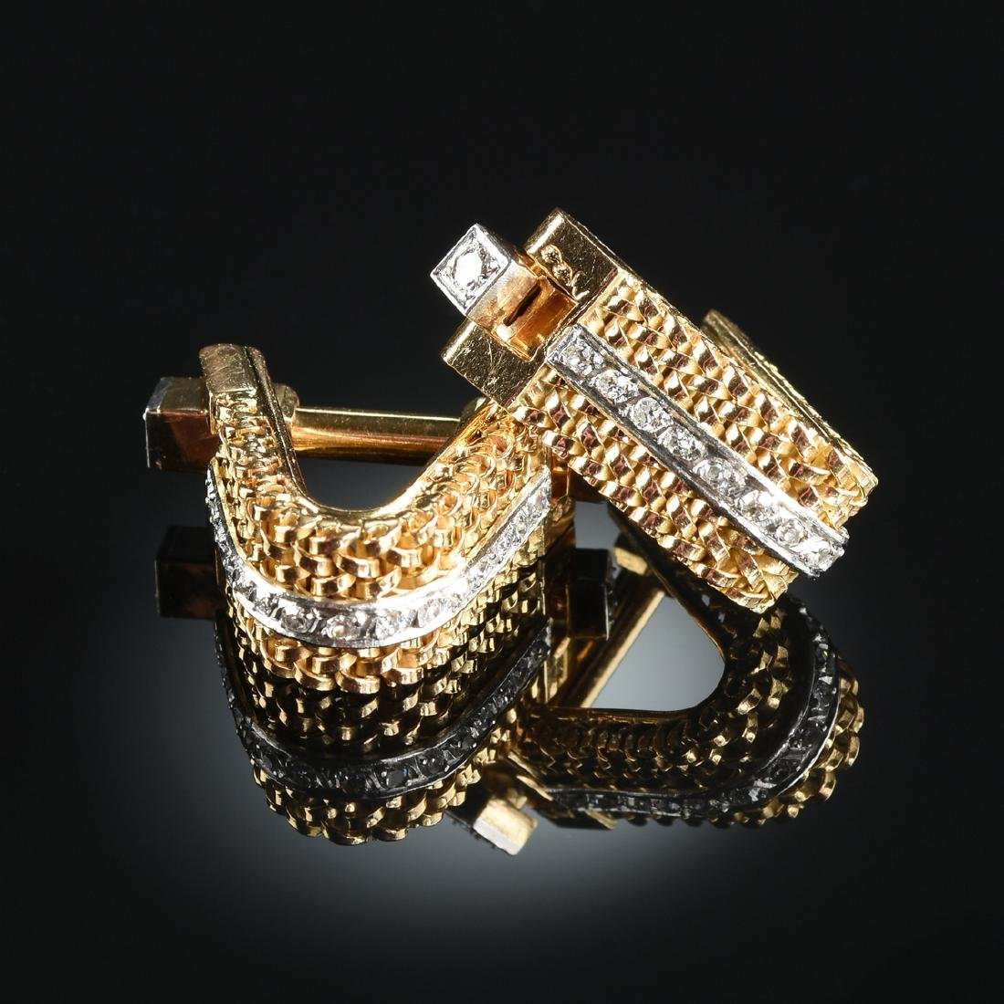 A PAIR OF FRENCH 18K YELLOW GOLD HALLMARKED AND DIAMOND