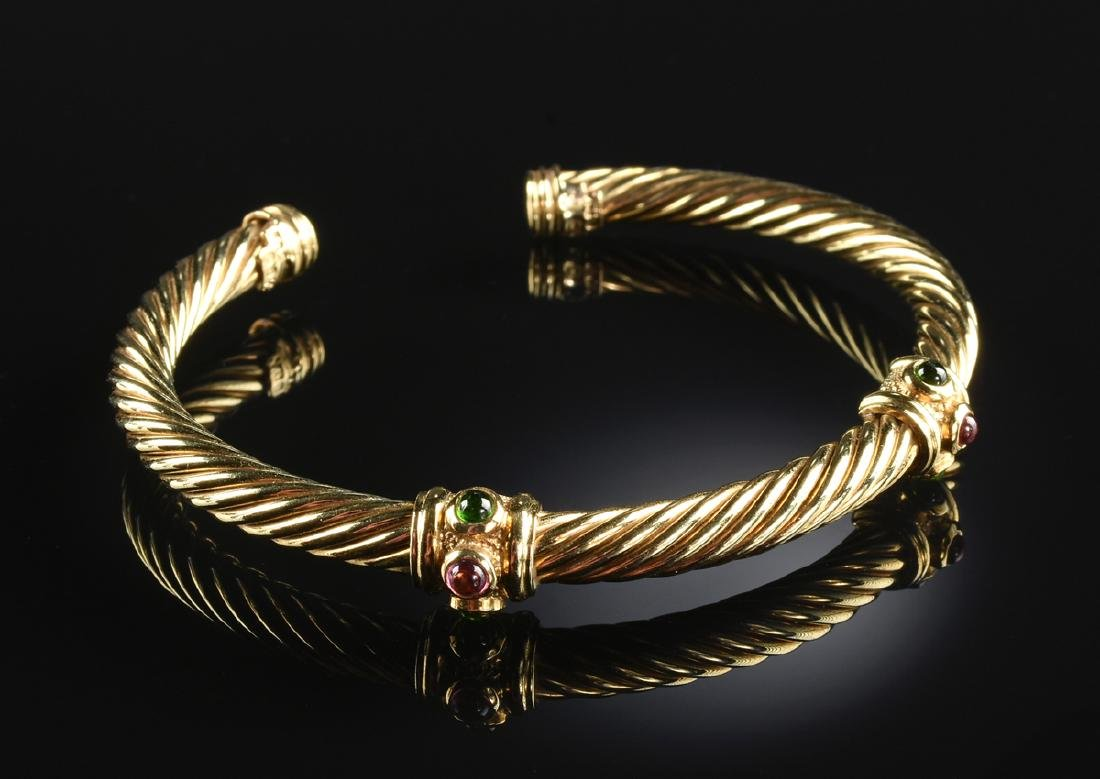 A 14K YELLOW GOLD DAVID YURMAN DOUBLE GEM CABLE LADY'S