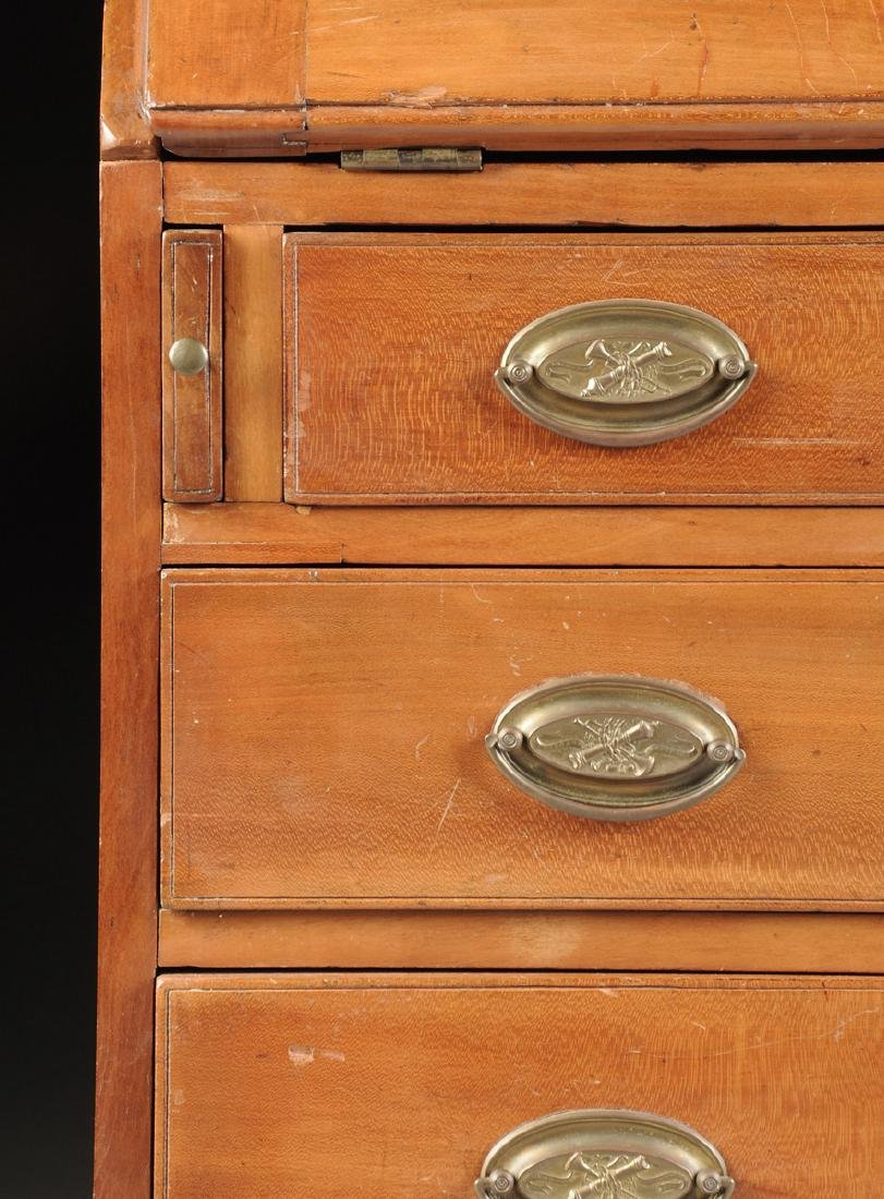 A CHIPPENDALE CARVED CHERRYWOOD SLANT-FRONT BUREAU, NEW - 4