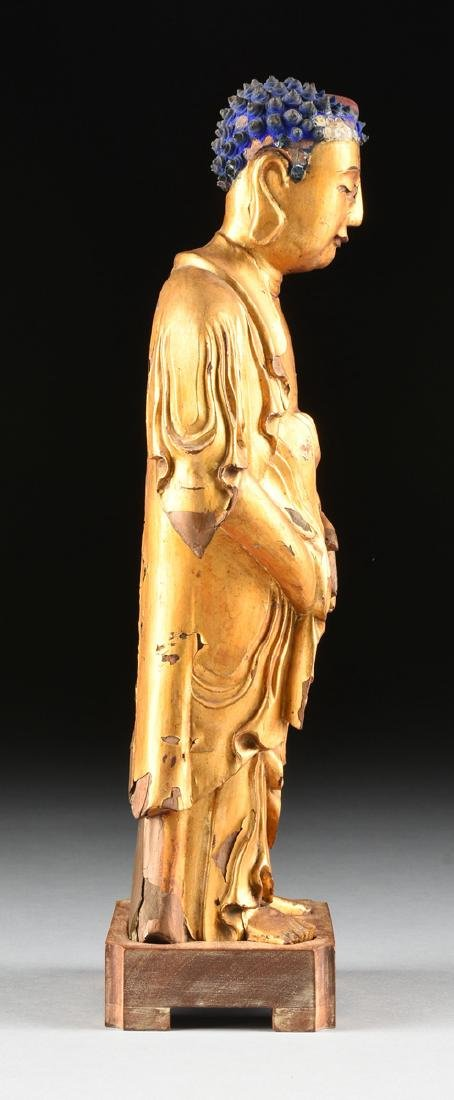 A CHINESE GILTWOOD CARVED BUDDHA ON STAND, MING STYLE, - 6
