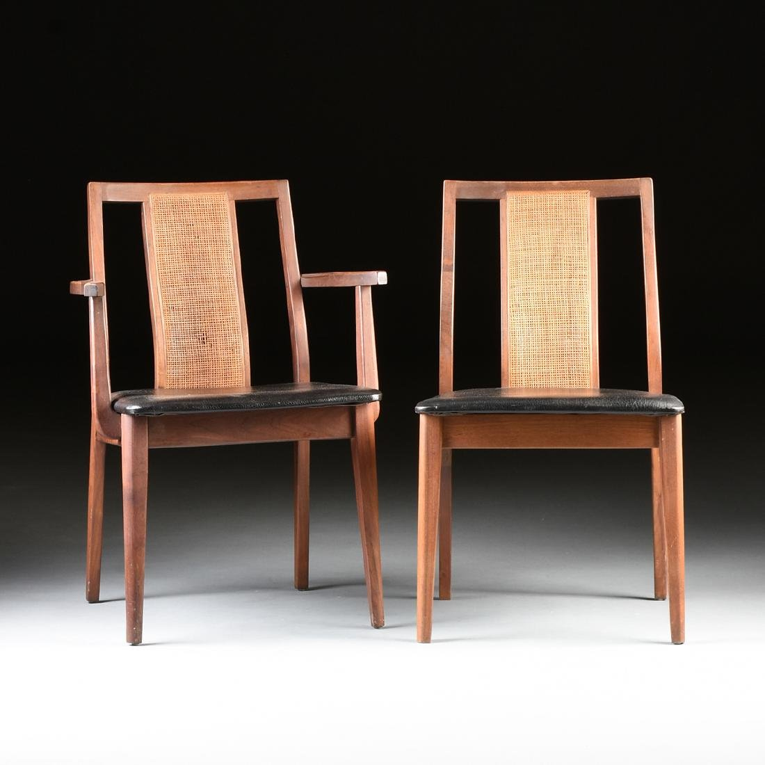 A SET OF SEVEN MID CENTURY SIDE CHAIRS AND ONE