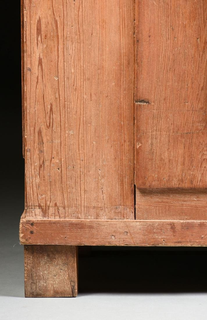AN AMERICAN PRIMITIVE CARVED PINE PIE SAFE CABINET, - 4