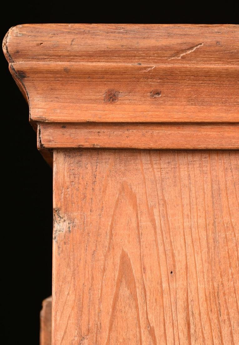 AN AMERICAN PRIMITIVE CARVED PINE PIE SAFE CABINET, - 7