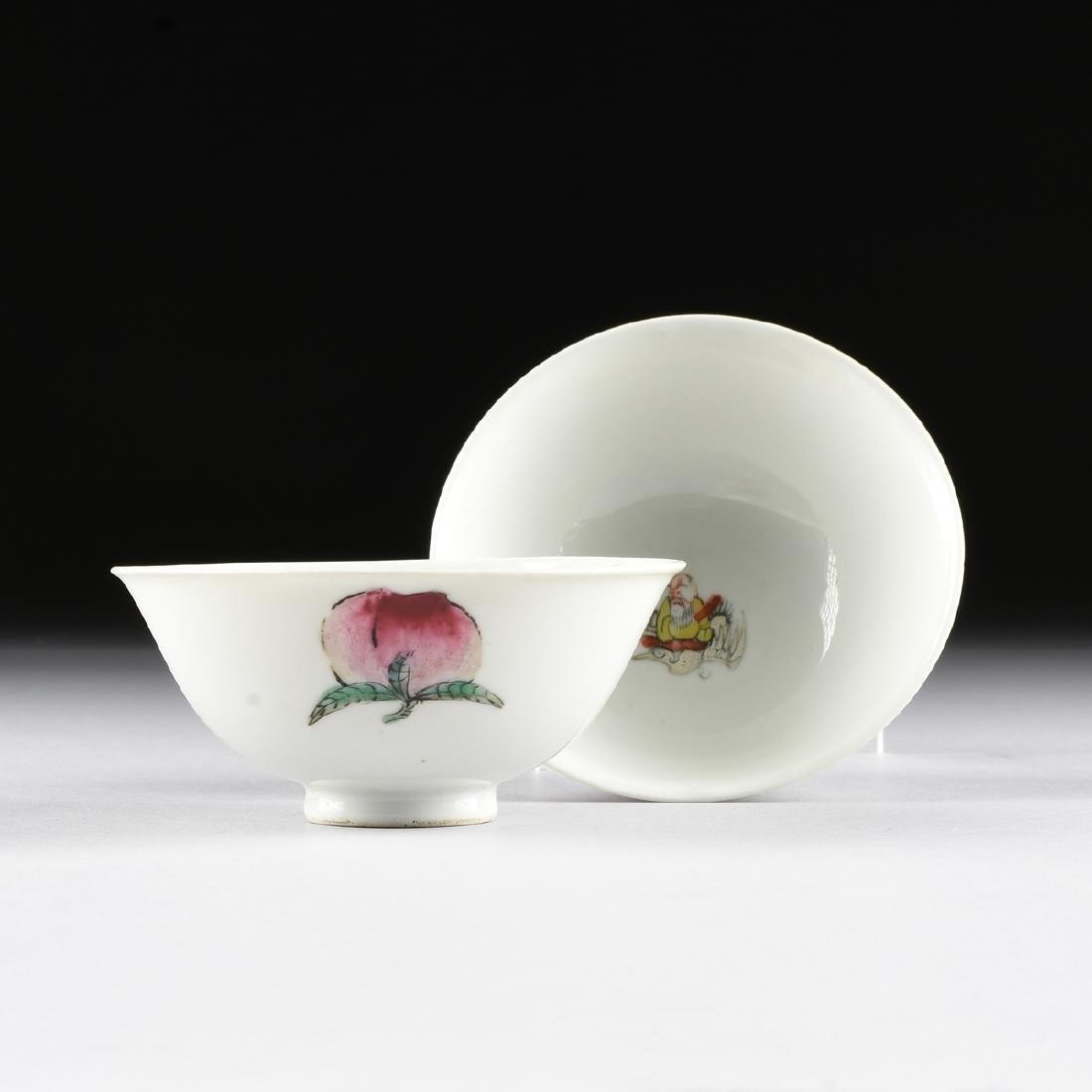 A PAIR OF CHINESE PORCELAIN TEA BOWLS,