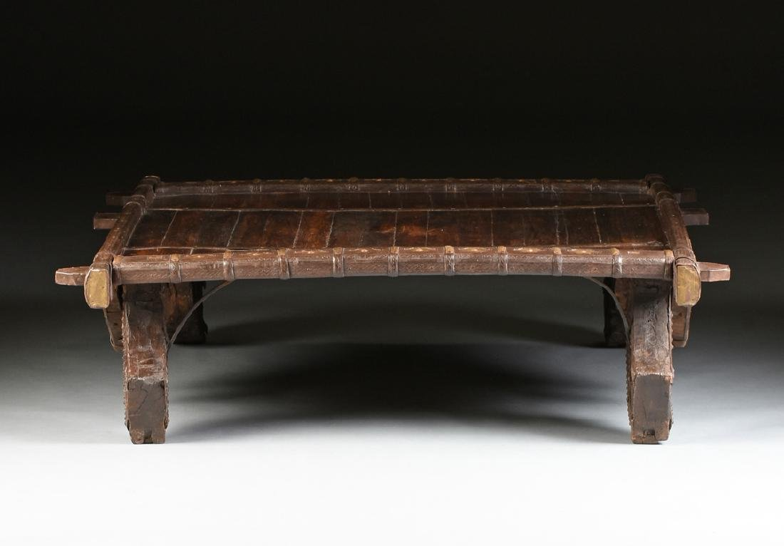 AN INDIAN BRASS AND WROUGHT IRON MOUNTED CARVED WOOD - 8