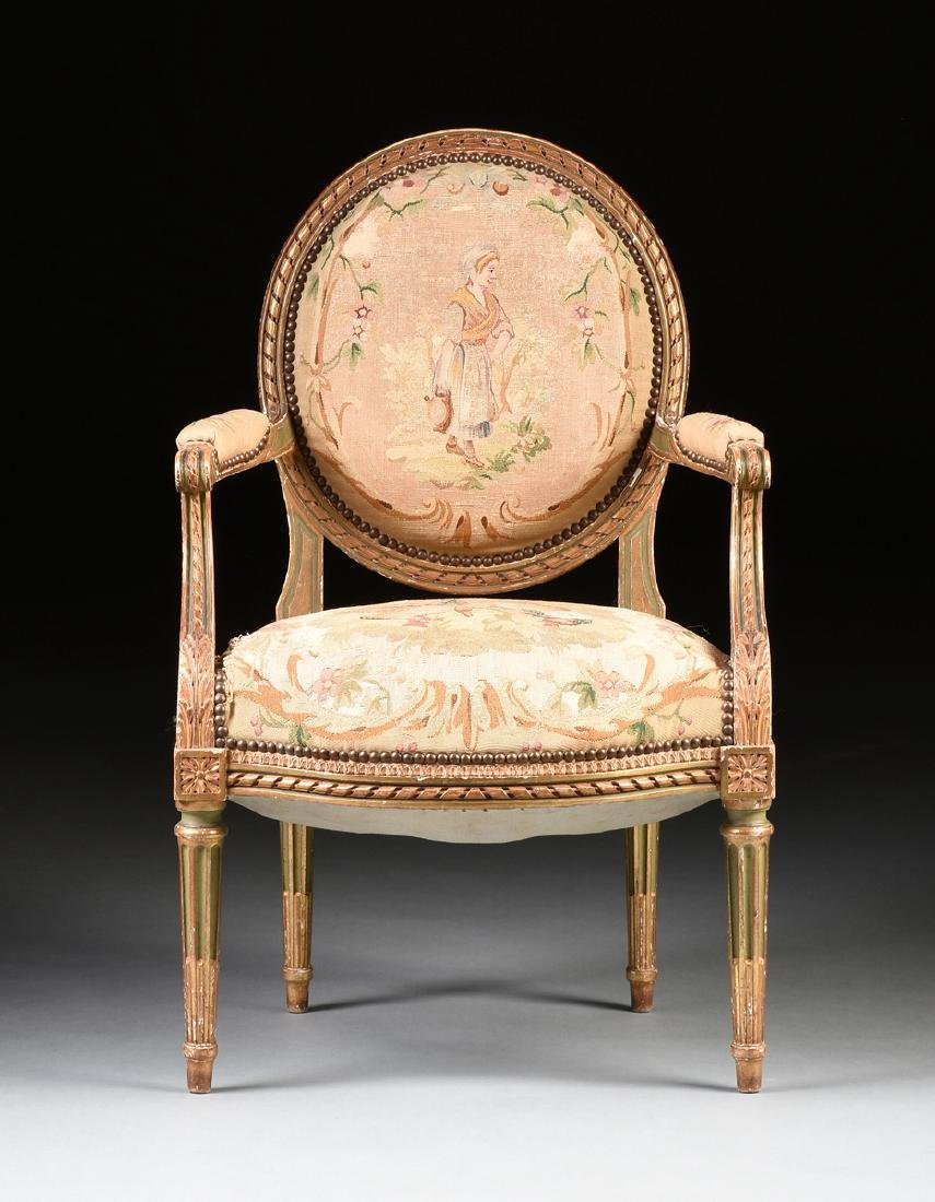 A FRENCH LOUIS XVI STYLE PAINTED AND GILT CARVED OAK - 2