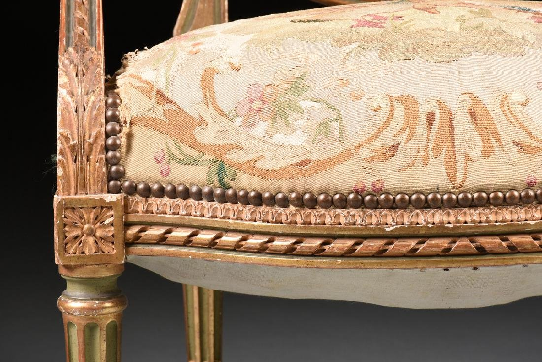 A FRENCH LOUIS XVI STYLE PAINTED AND GILT CARVED OAK - 5