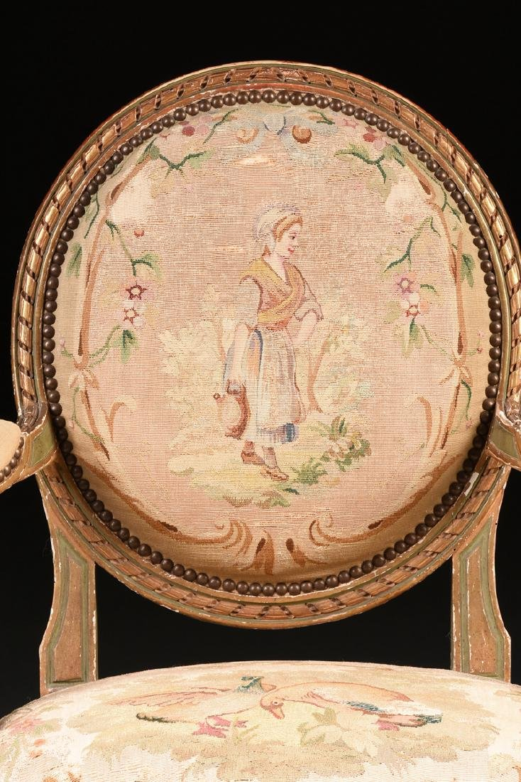 A FRENCH LOUIS XVI STYLE PAINTED AND GILT CARVED OAK - 6