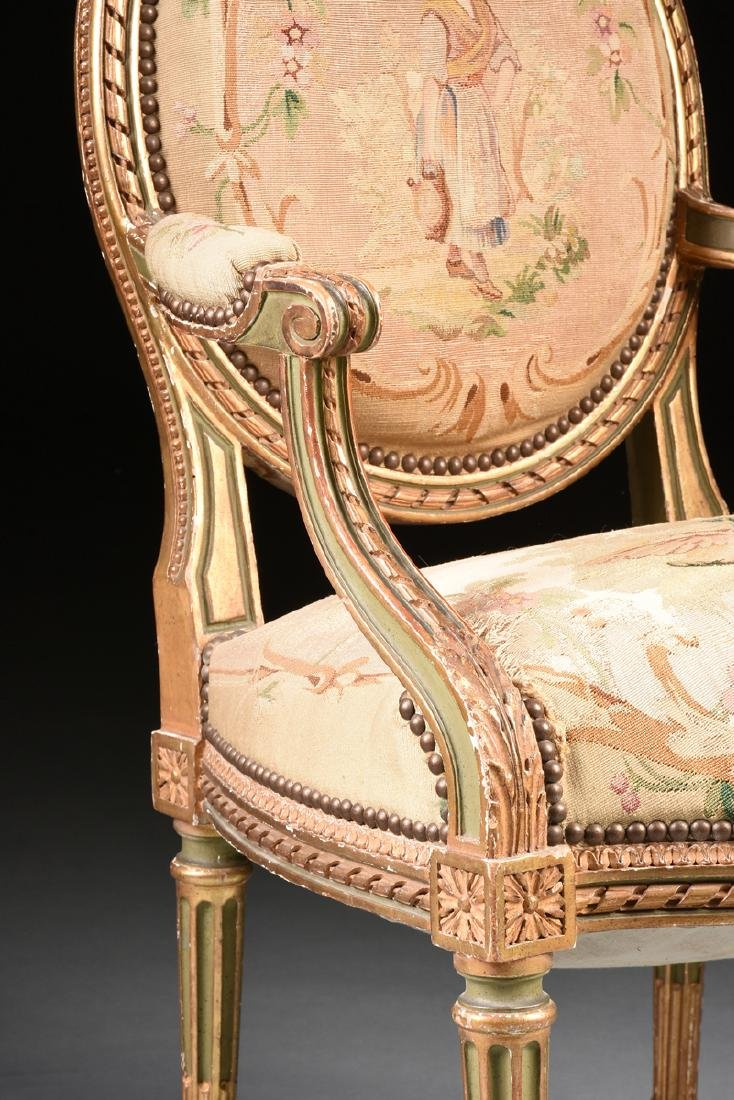 A FRENCH LOUIS XVI STYLE PAINTED AND GILT CARVED OAK - 7