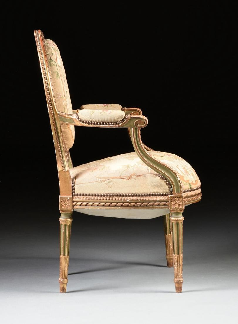 A FRENCH LOUIS XVI STYLE PAINTED AND GILT CARVED OAK - 8