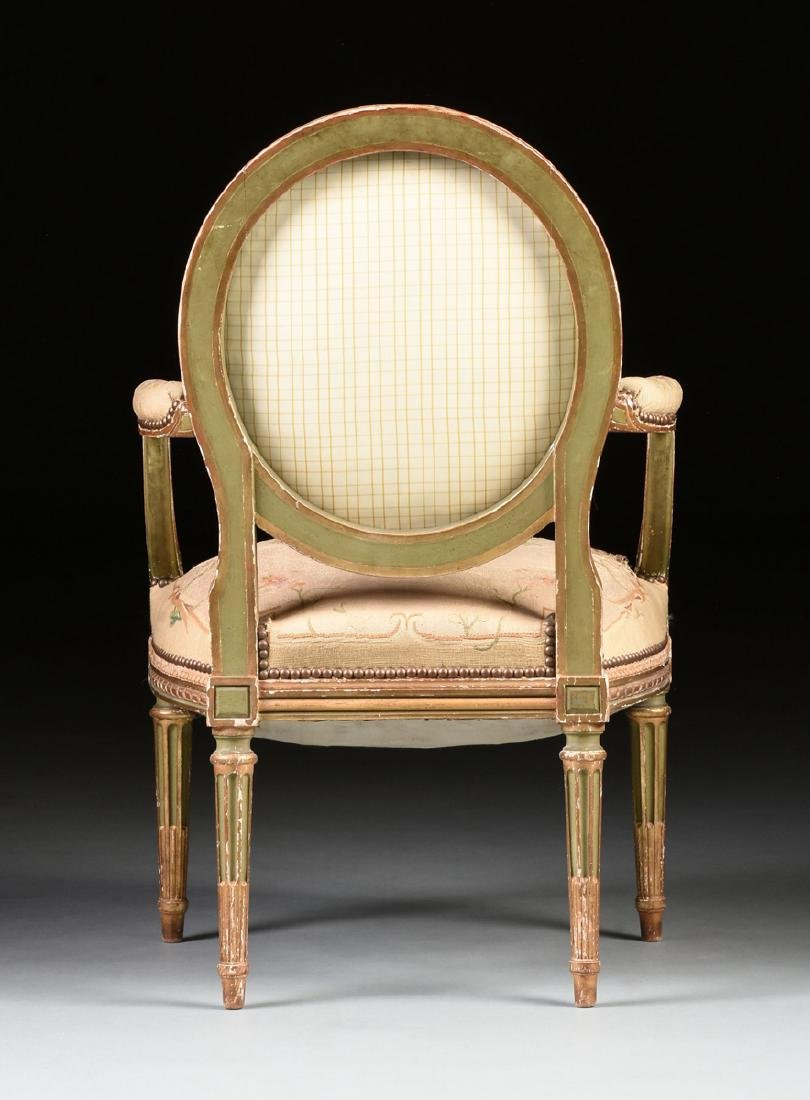A FRENCH LOUIS XVI STYLE PAINTED AND GILT CARVED OAK - 9