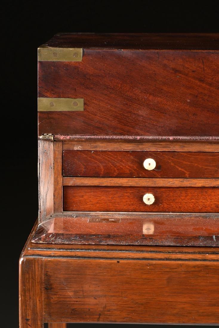 A CAMPAIGN BRASS MOUNTED MAHOGANY LAPTOP WRITING BOX ON - 6