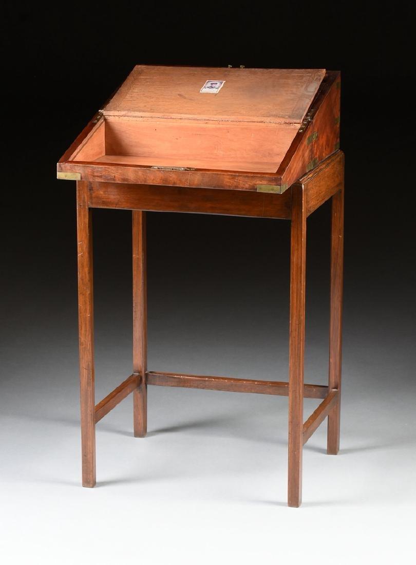 A CAMPAIGN BRASS MOUNTED MAHOGANY LAPTOP WRITING BOX ON - 9