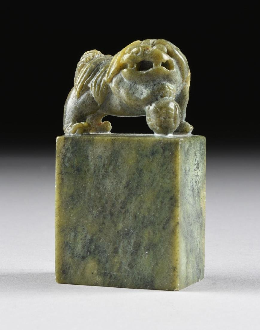 A GROUP OF FOUR SOAPSTONE FIGURAL SEALS, - 2