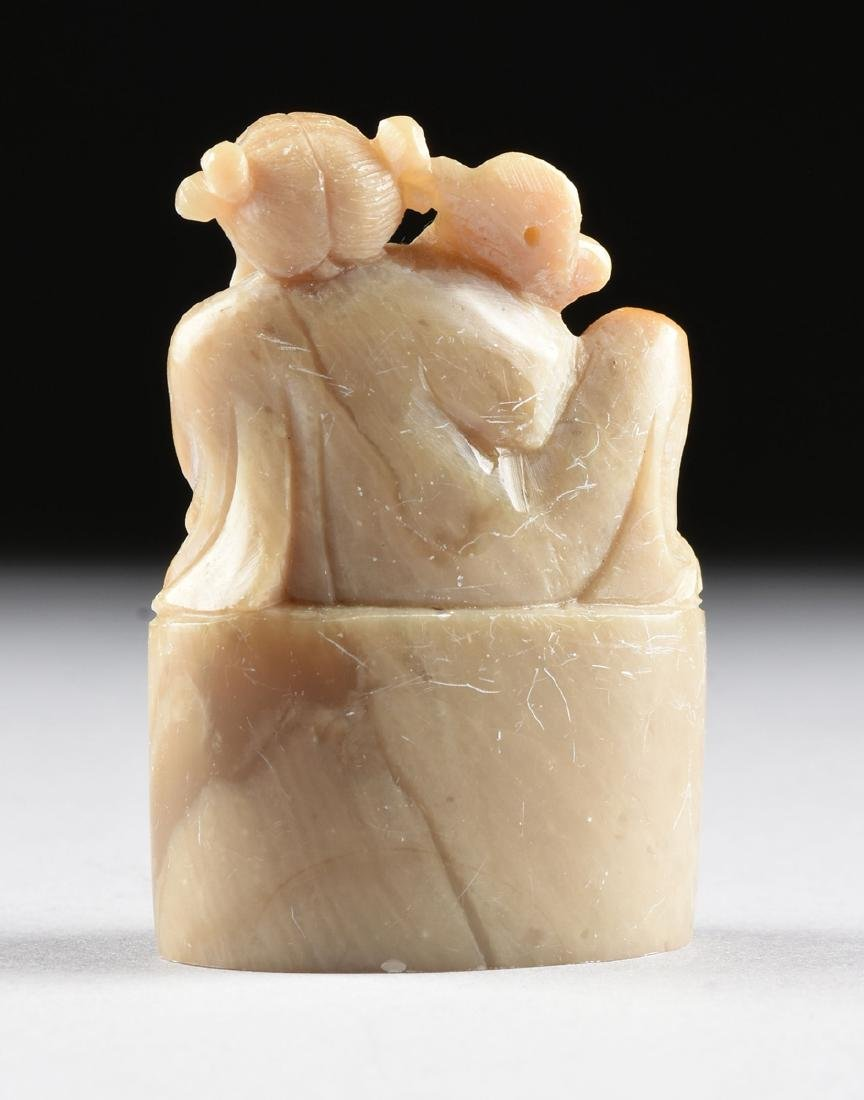 A GROUP OF FOUR SOAPSTONE FIGURAL SEALS, - 8