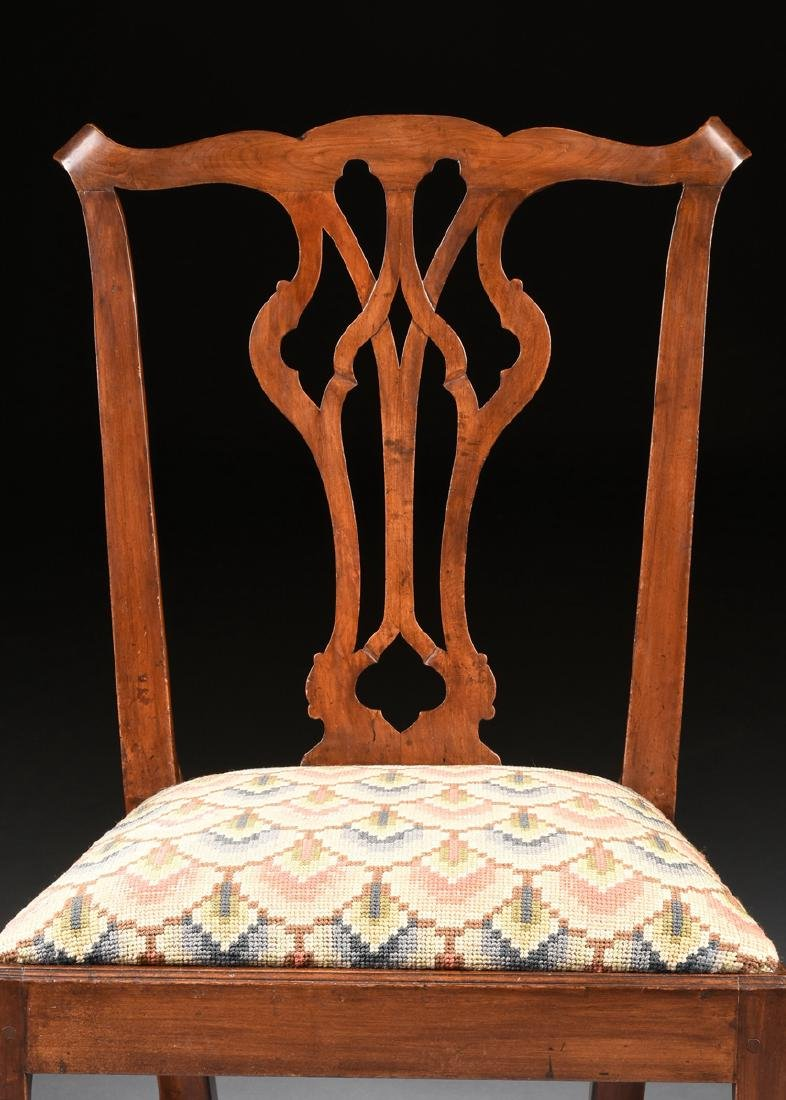 A COLONIAL GOTHIC CHIPPENDALE STYLE CARVED CHERRY SIDE - 2