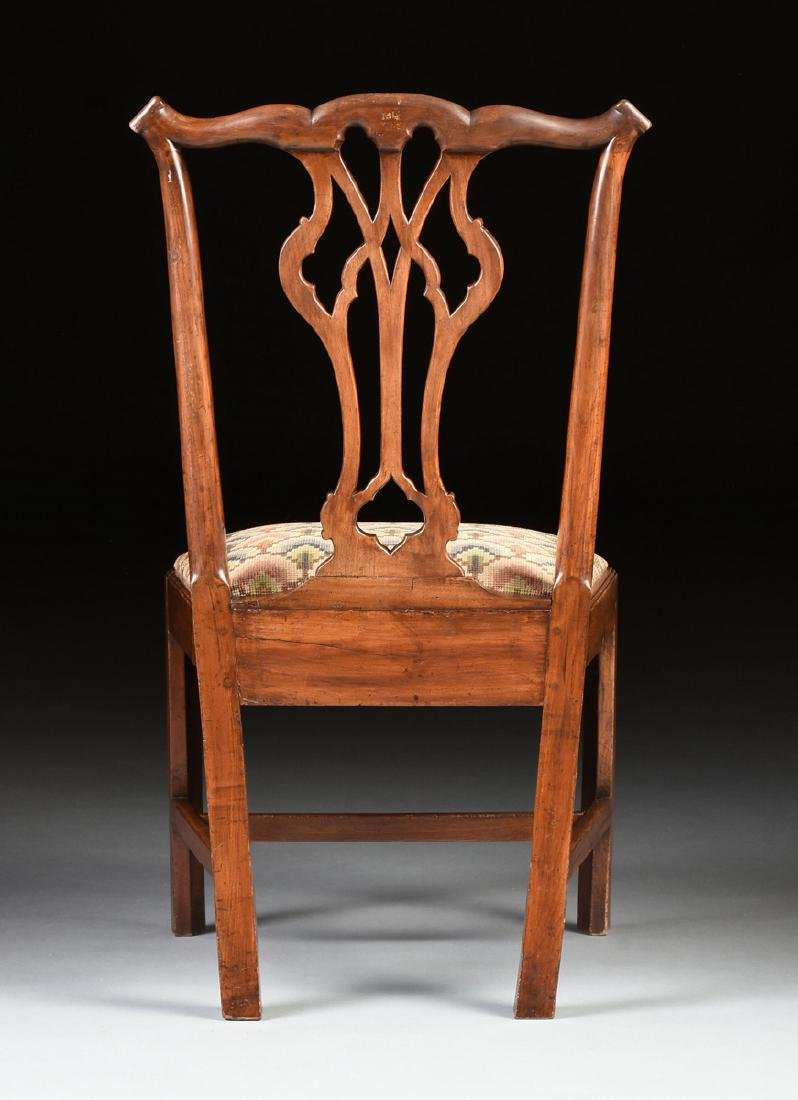 A COLONIAL GOTHIC CHIPPENDALE STYLE CARVED CHERRY SIDE - 8