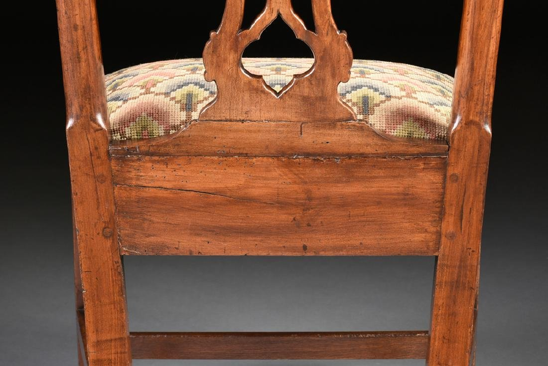 A COLONIAL GOTHIC CHIPPENDALE STYLE CARVED CHERRY SIDE - 9