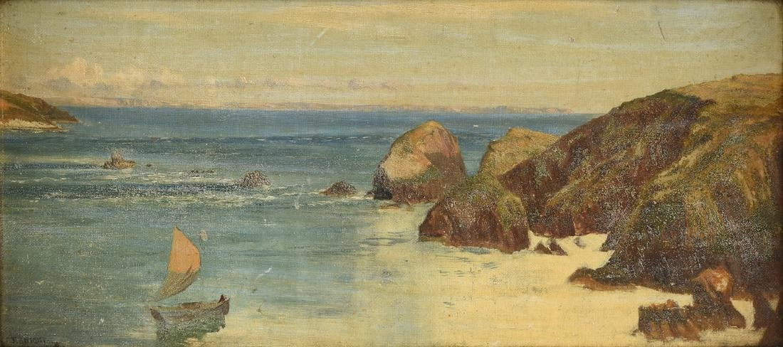 "F. KNIGHT, A PAINTING, ""Rocky Seascape,"""