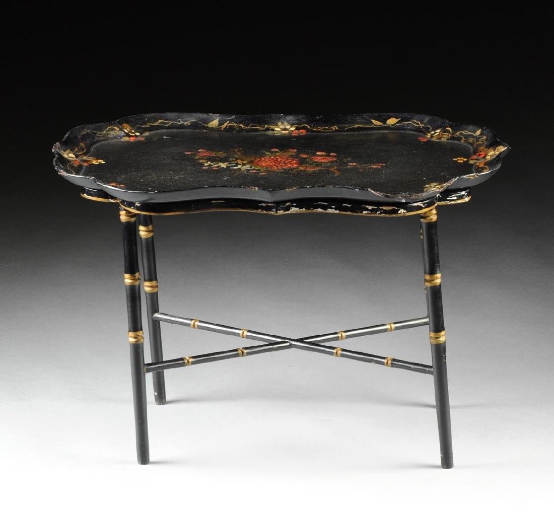 A VICTORIAN PARCEL GILT AND POLYCHROME PAINTED BLACK - 2