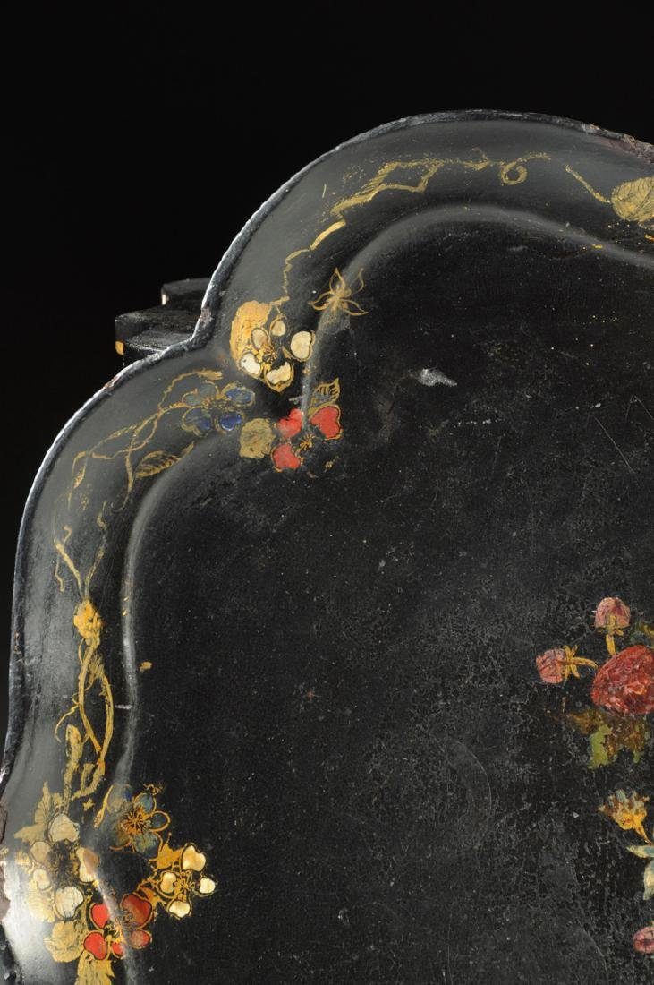 A VICTORIAN PARCEL GILT AND POLYCHROME PAINTED BLACK - 3