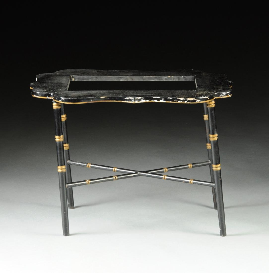 A VICTORIAN PARCEL GILT AND POLYCHROME PAINTED BLACK - 8