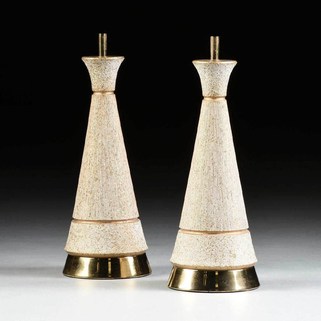 A PAIR OF VINTAGE MID CENTURY MODERN GILT AND WHITE