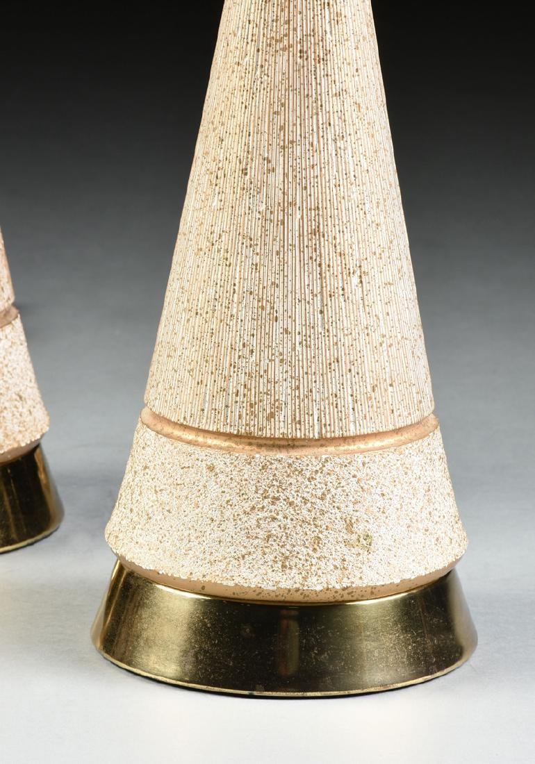 A PAIR OF VINTAGE MID CENTURY MODERN GILT AND WHITE - 5
