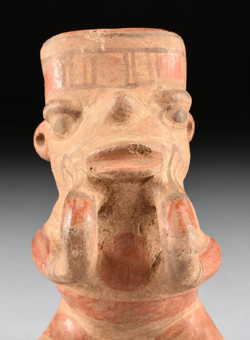 A PRE-COLUMBIAN PAINTED TERRCOTTA POTTERY FIGURE AND - 3