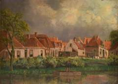 """L. DE HAAN (Dutch) A PAINTING, """"Stormy Clouds Over the"""