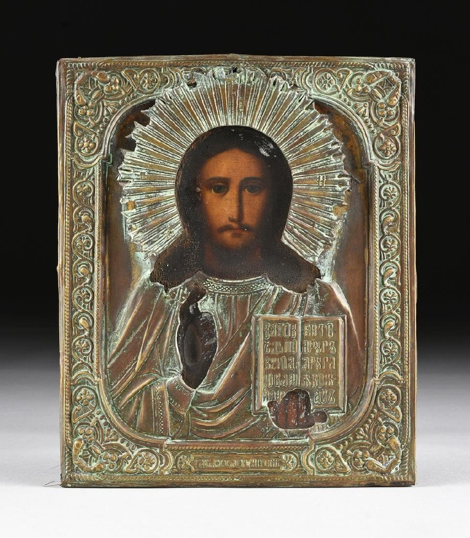 AN ANTIQUE RUSSIAN ICON WITH BRASS OKLAD OIL ON BOARD